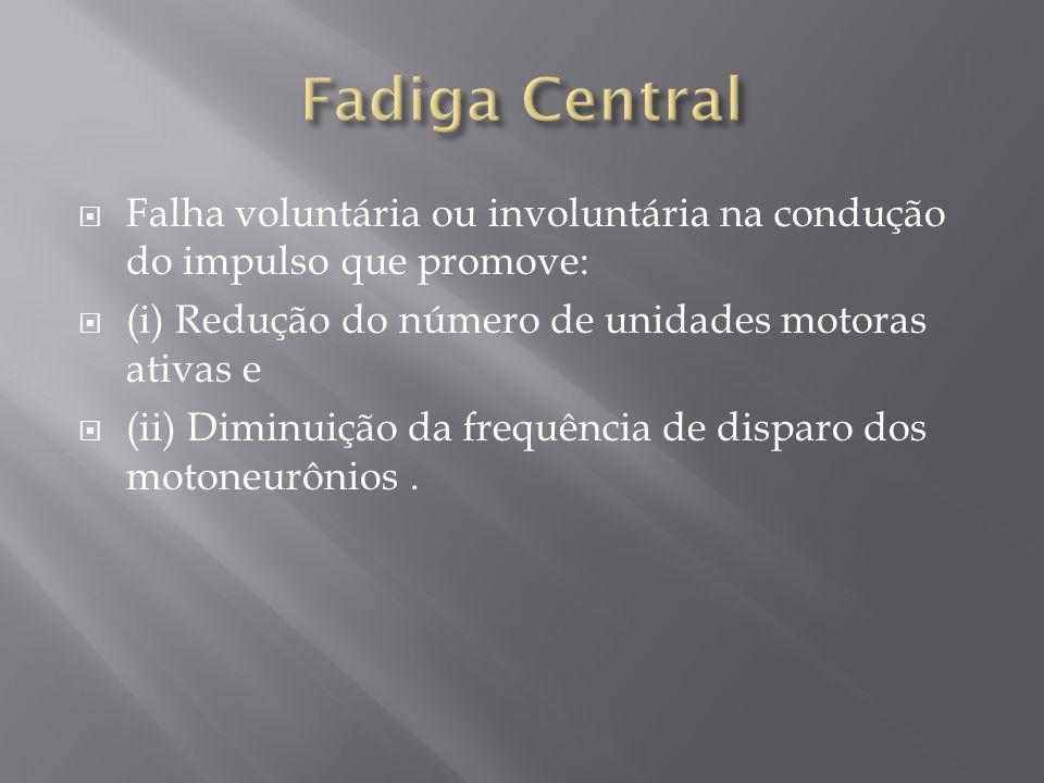 Falha voluntária ou involuntária na condução do impulso que promove: (i) Redução do número de unidades motoras ativas e (ii) Diminuição da frequência de disparo dos motoneurônios.