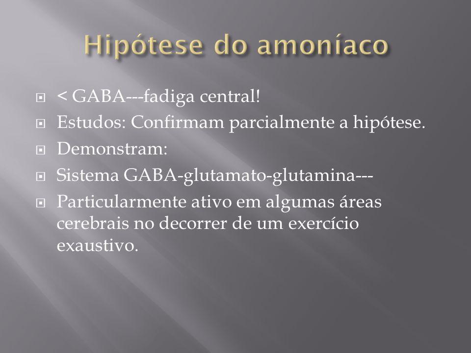 < GABA---fadiga central! Estudos: Confirmam parcialmente a hipótese. Demonstram: Sistema GABA-glutamato-glutamina--- Particularmente ativo em algumas