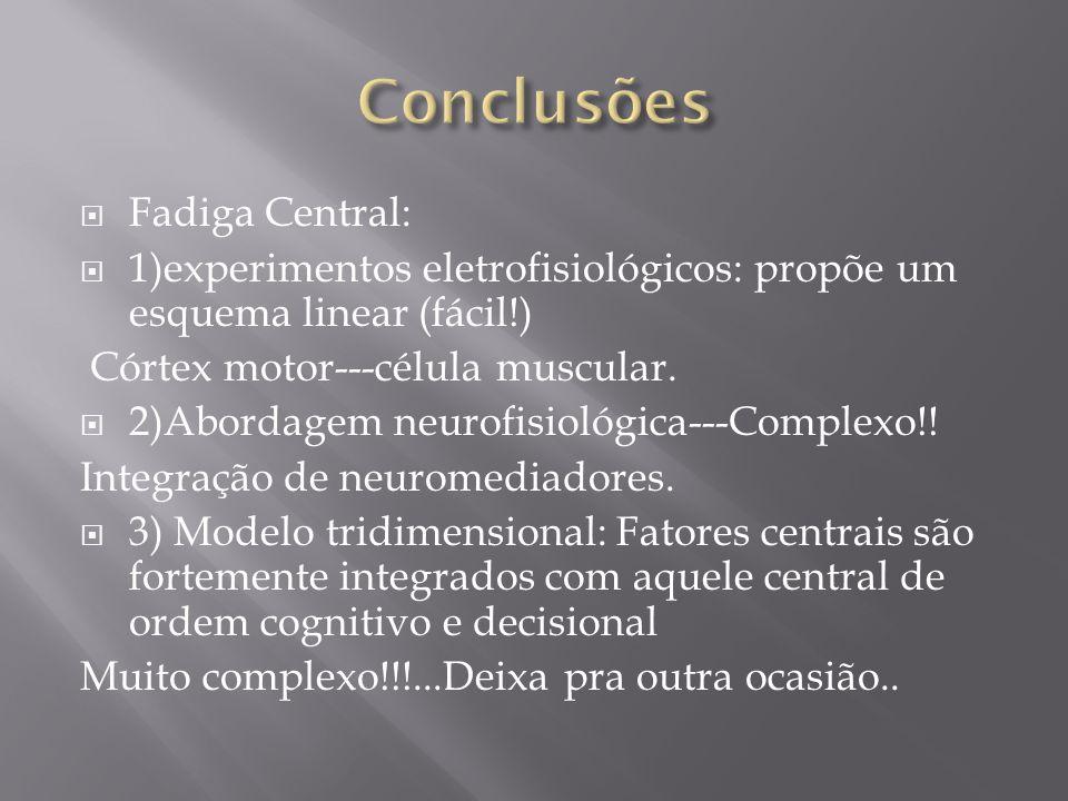 Fadiga Central: 1)experimentos eletrofisiológicos: propõe um esquema linear (fácil!) Córtex motor---célula muscular. 2)Abordagem neurofisiológica---Co