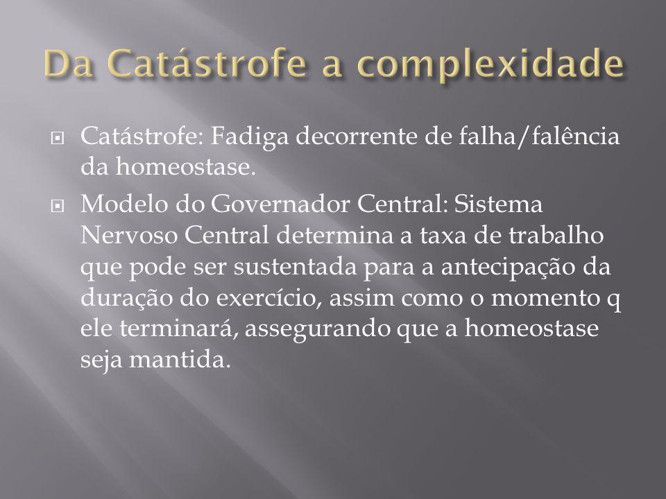 Catástrofe: Fadiga decorrente de falha/falência da homeostase. Modelo do Governador Central: Sistema Nervoso Central determina a taxa de trabalho que