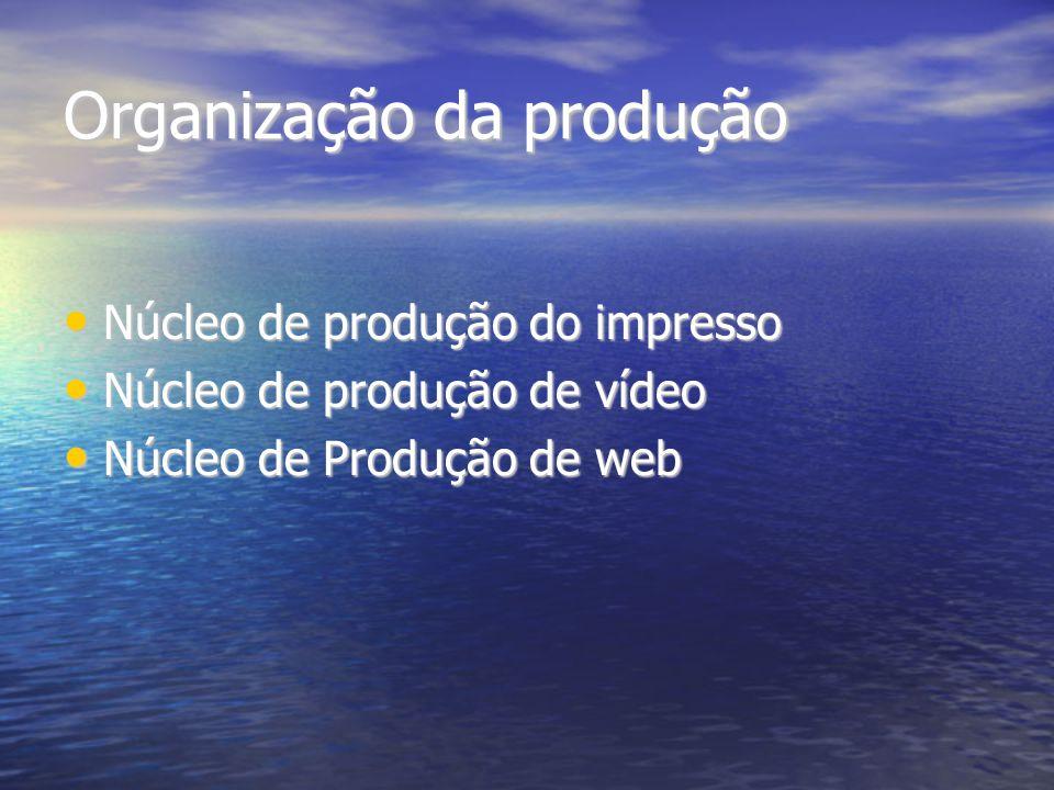 Organização da produção Núcleo de produção do impresso Núcleo de produção do impresso Núcleo de produção de vídeo Núcleo de produção de vídeo Núcleo d