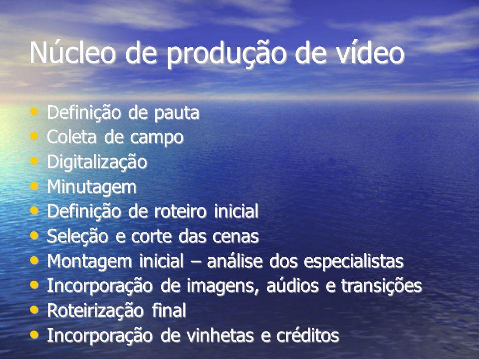Núcleo de produção de vídeo Definição de pauta Definição de pauta Coleta de campo Coleta de campo Digitalização Digitalização Minutagem Minutagem Defi