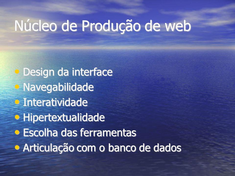 Núcleo de Produção de web Design da interface Design da interface Navegabilidade Navegabilidade Interatividade Interatividade Hipertextualidade Hipert