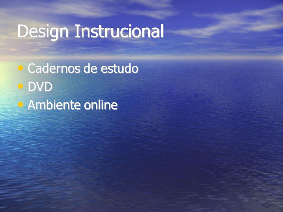 Design Instrucional Cadernos de estudo Cadernos de estudo DVD DVD Ambiente online Ambiente online