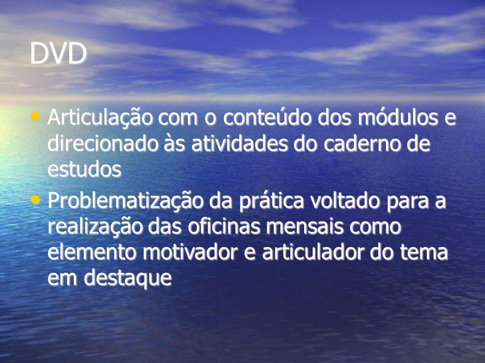 DVD Articulação com o conteúdo dos módulos e direcionado às atividades do caderno de estudos Articulação com o conteúdo dos módulos e direcionado às a