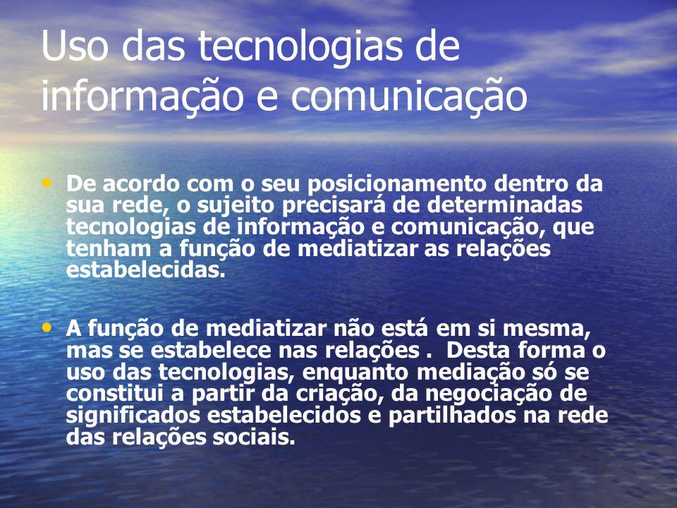 Uso das tecnologias de informação e comunicação De acordo com o seu posicionamento dentro da sua rede, o sujeito precisará de determinadas tecnologias