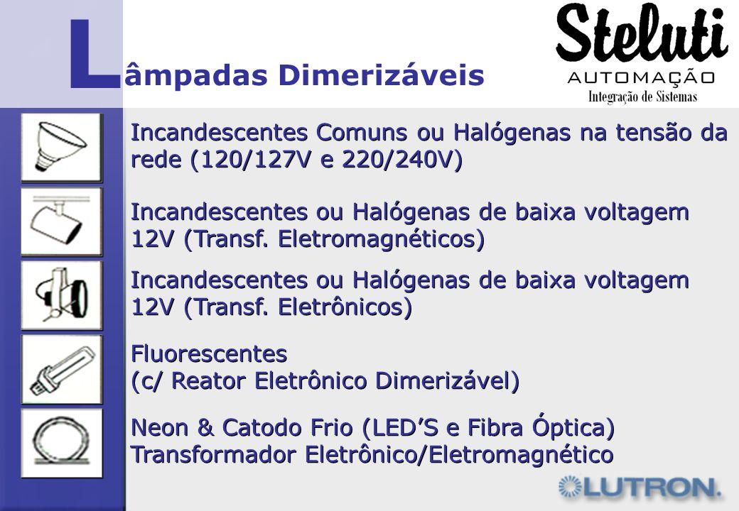L Incandescentes ou Halógenas de baixa voltagem 12V (Transf. Eletromagnéticos) Incandescentes ou Halógenas de baixa voltagem 12V (Transf. Eletrônicos)