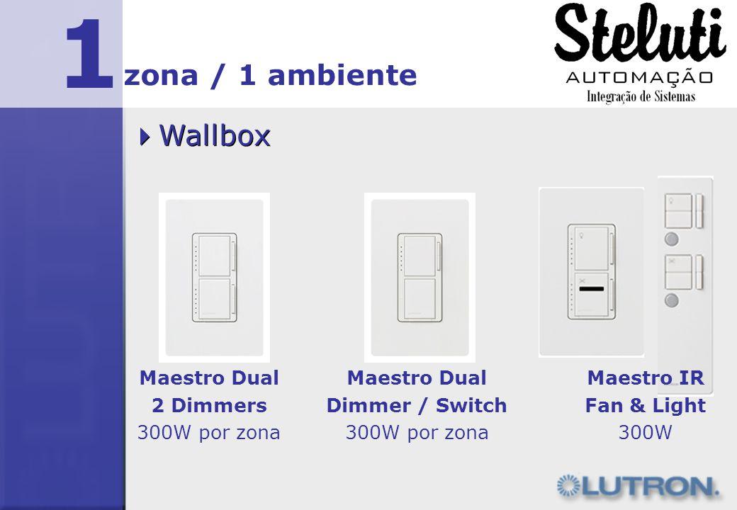 1 Wallbox zona / 1 ambiente Maestro Dual 2 Dimmers 300W por zona Maestro Dual Dimmer / Switch 300W por zona Maestro IR Fan & Light 300W