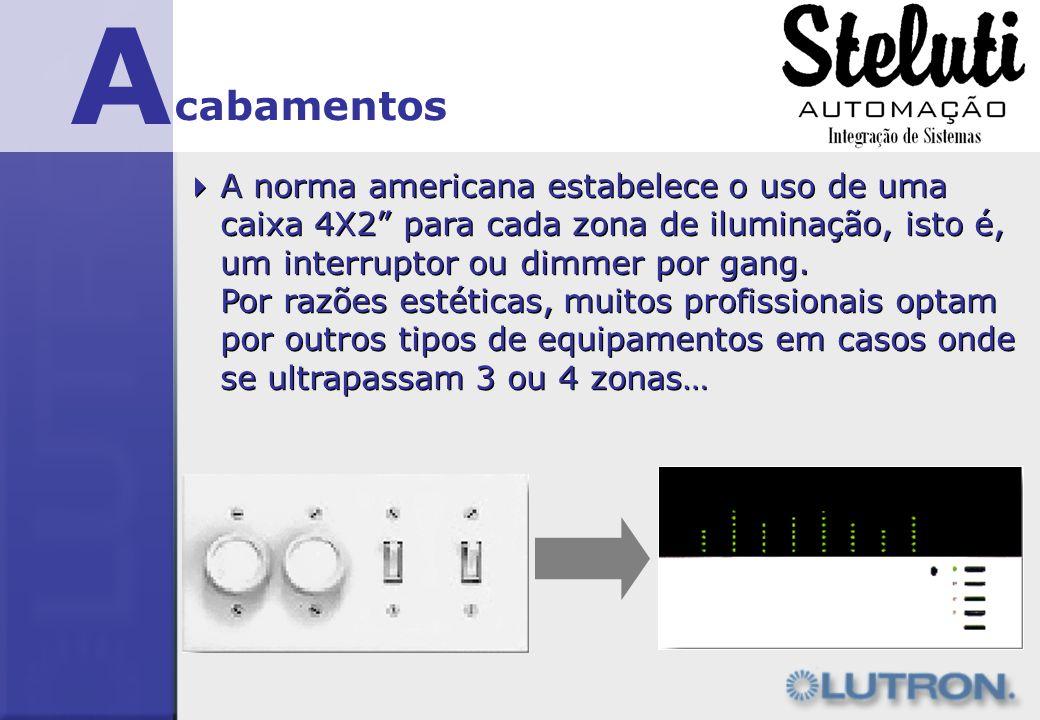 A cabamentos A norma americana estabelece o uso de uma caixa 4X2 para cada zona de iluminação, isto é, um interruptor ou dimmer por gang. Por razões e