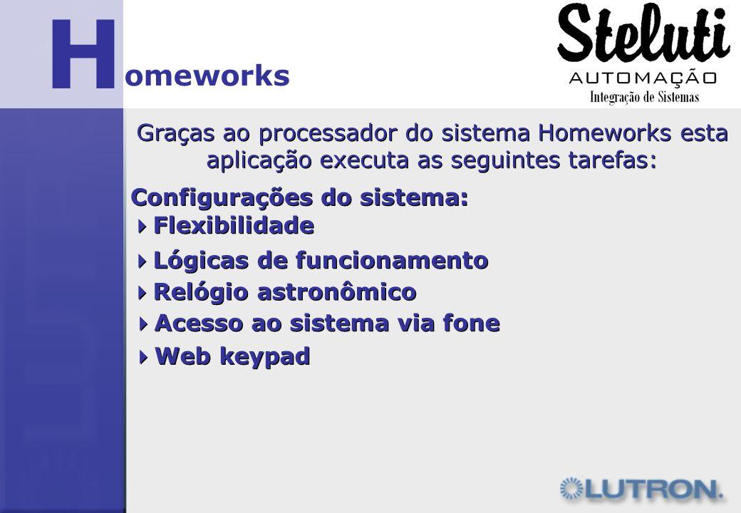 H omeworks Graças ao processador do sistema Homeworks esta aplicação executa as seguintes tarefas: Configurações do sistema: Flexibilidade Lógicas de