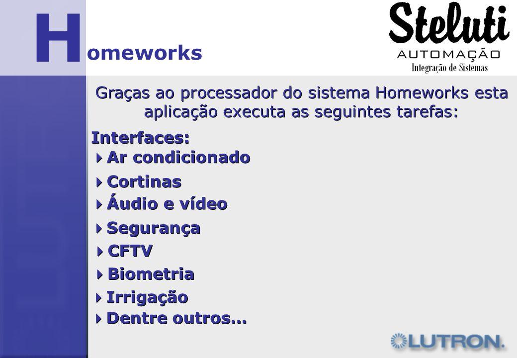H omeworks Graças ao processador do sistema Homeworks esta aplicação executa as seguintes tarefas: Interfaces: Ar condicionado Cortinas Áudio e vídeo