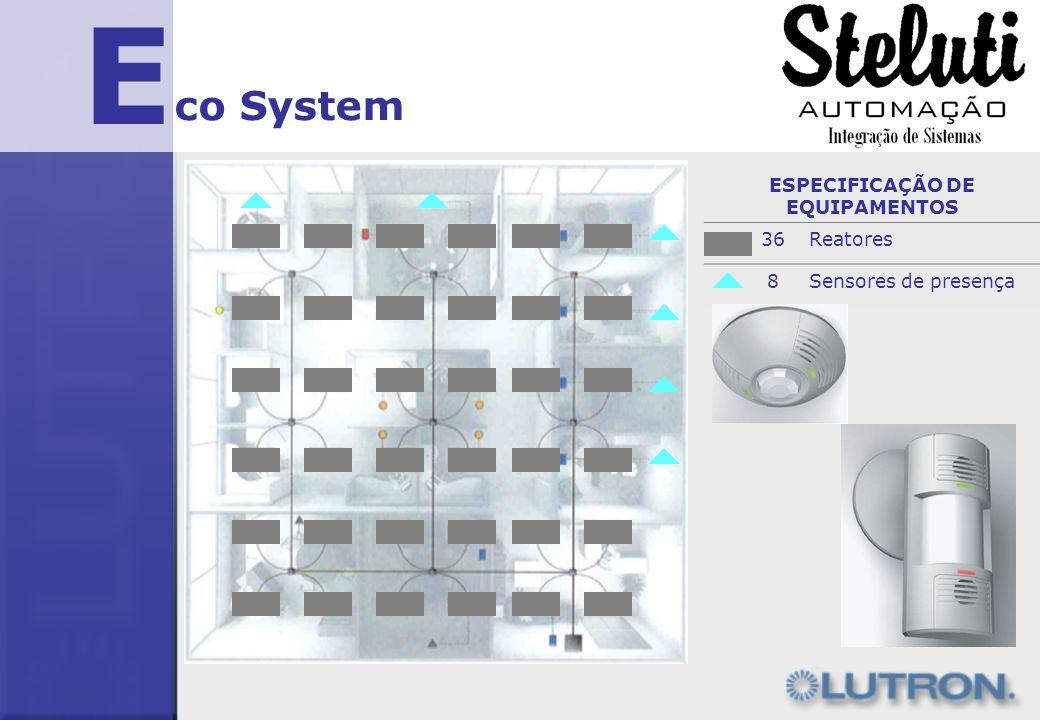 E co System ESPECIFICAÇÃO DE EQUIPAMENTOS 36Reatores 8Sensores de presença
