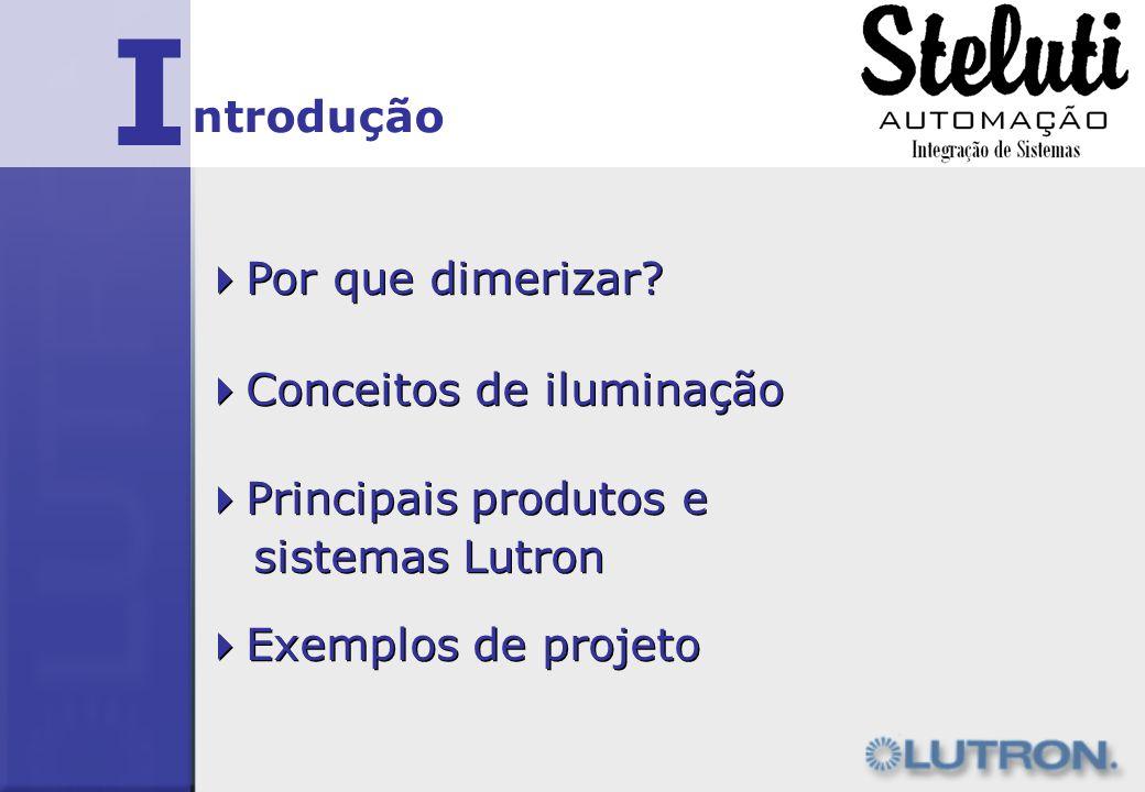 I Por que dimerizar? ntrodução Conceitos de iluminação Principais produtos e sistemas Lutron Principais produtos e sistemas Lutron Exemplos de projeto