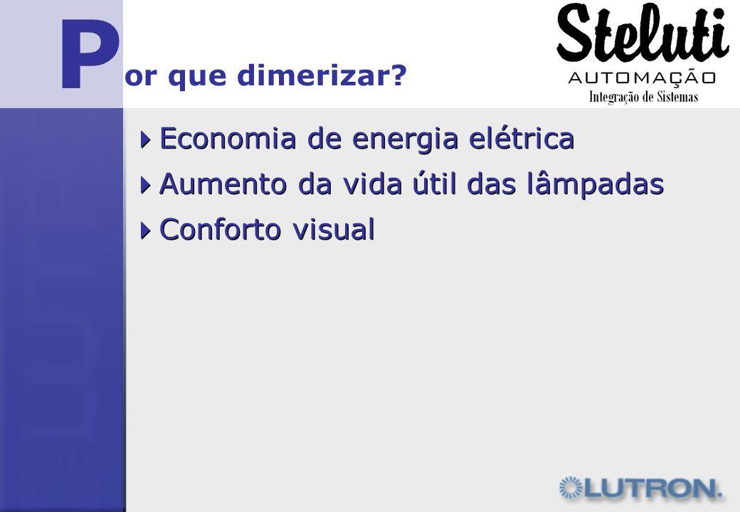 P Economia de energia elétrica or que dimerizar? Aumento da vida útil das lâmpadas Conforto visual