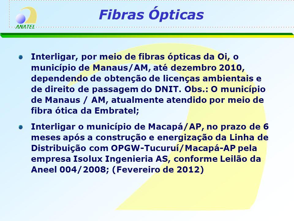 ANATEL Interligar, por meio de fibras ópticas da Oi, o município de Manaus/AM, até dezembro 2010, dependendo de obtenção de licenças ambientais e de direito de passagem do DNIT.