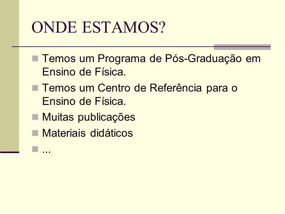 ONDE ESTAMOS? Temos um Programa de Pós-Graduação em Ensino de Física. Temos um Centro de Referência para o Ensino de Física. Muitas publicações Materi