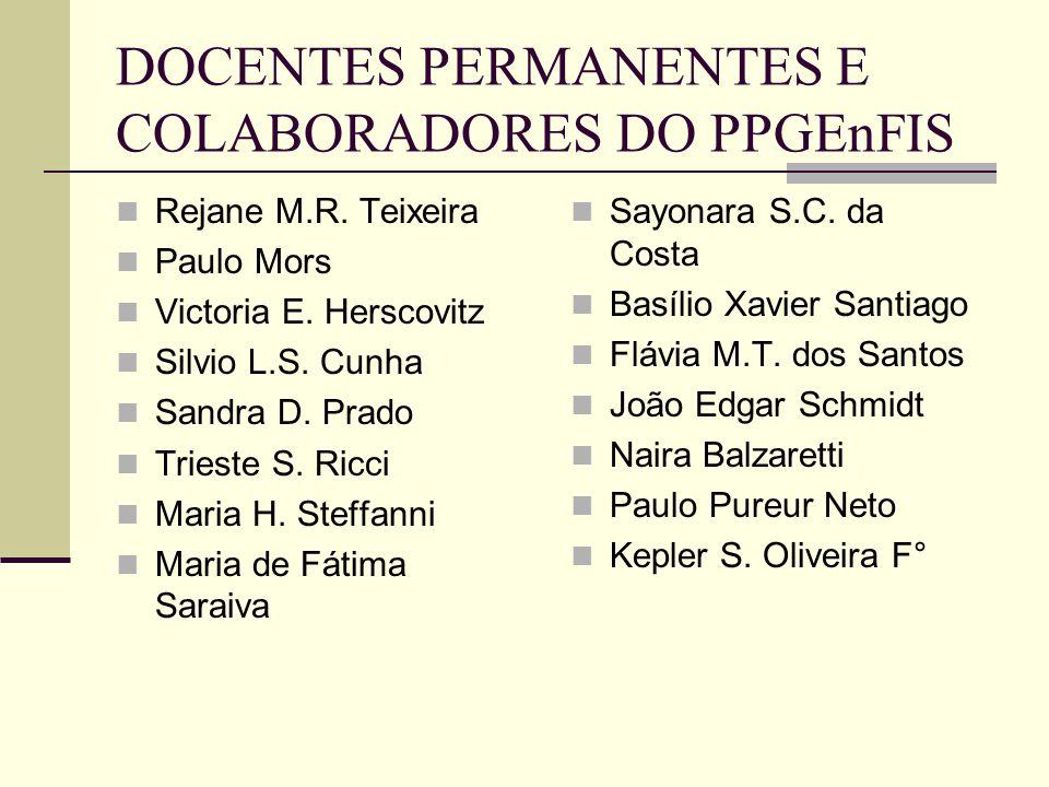 DOCENTES PERMANENTES E COLABORADORES DO PPGEnFIS Rejane M.R. Teixeira Paulo Mors Victoria E. Herscovitz Silvio L.S. Cunha Sandra D. Prado Trieste S. R