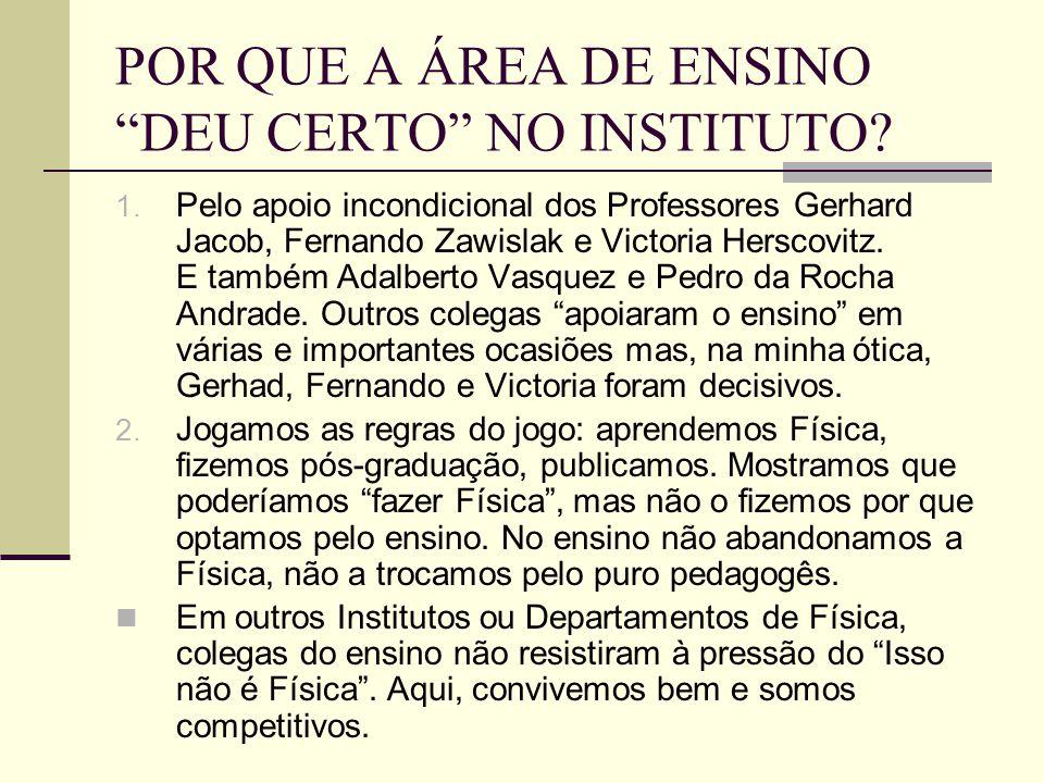 POR QUE A ÁREA DE ENSINO DEU CERTO NO INSTITUTO? 1. Pelo apoio incondicional dos Professores Gerhard Jacob, Fernando Zawislak e Victoria Herscovitz. E