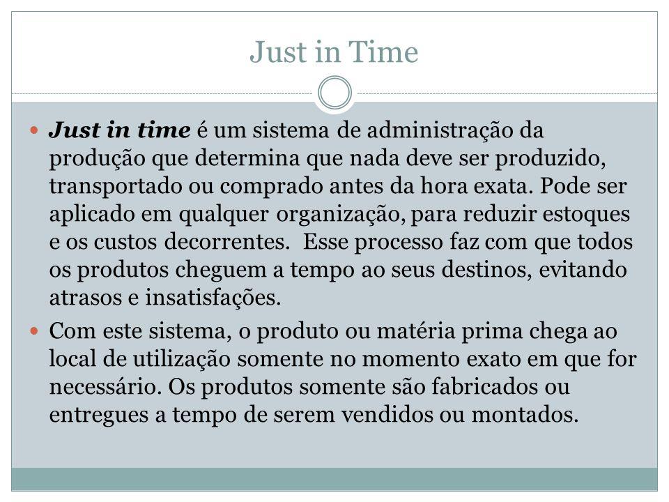 Just in Time Just in time é um sistema de administração da produção que determina que nada deve ser produzido, transportado ou comprado antes da hora