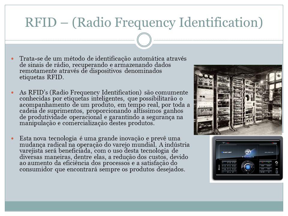 RFID – (Radio Frequency Identification) Trata-se de um método de identificação automática através de sinais de rádio, recuperando e armazenando dados