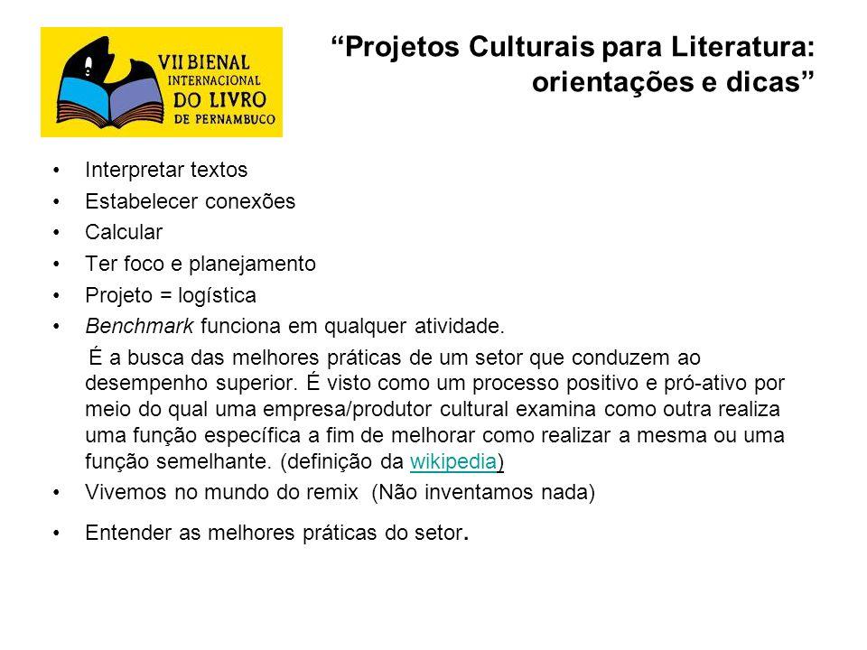 Projetos Culturais para Literatura: orientações e dicas Interpretar textos Estabelecer conexões Calcular Ter foco e planejamento Projeto = logística B