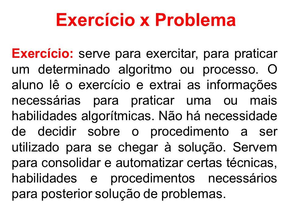Exercício x Problema Exercício: serve para exercitar, para praticar um determinado algoritmo ou processo.