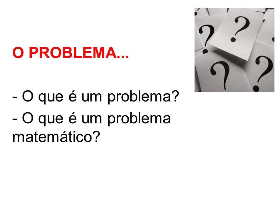 O PROBLEMA... - O que é um problema? - O que é um problema matemático?