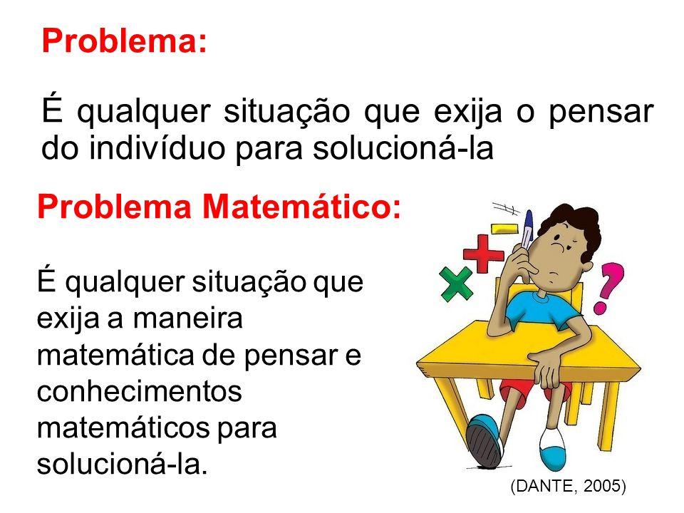 Problema: É qualquer situação que exija o pensar do indivíduo para solucioná-la Problema Matemático: É qualquer situação que exija a maneira matemática de pensar e conhecimentos matemáticos para solucioná-la.