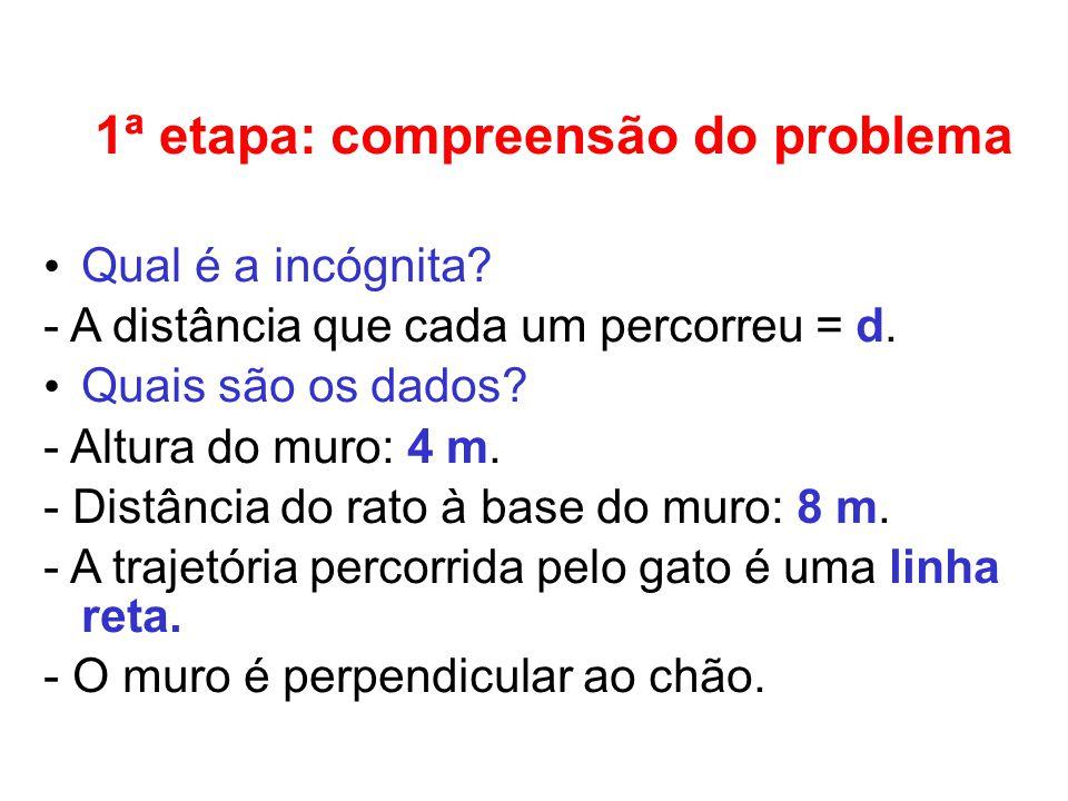 1ª etapa: compreensão do problema Qual é a incógnita.