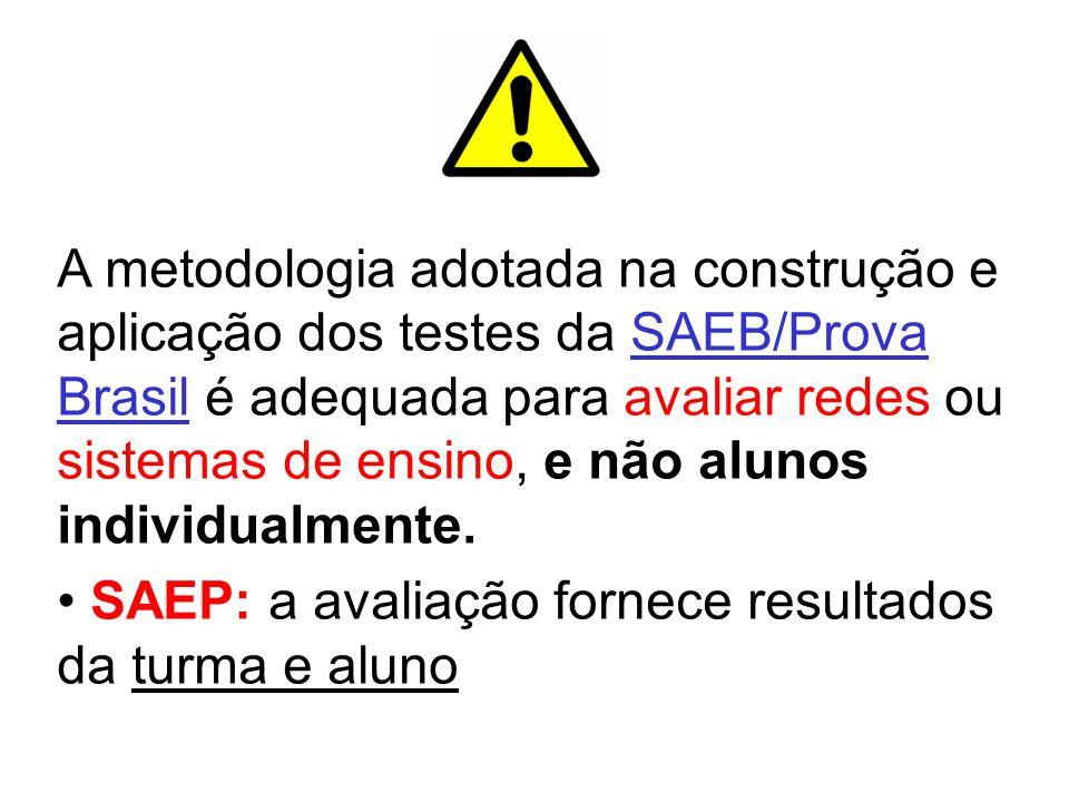 A metodologia adotada na construção e aplicação dos testes da SAEB/Prova Brasil é adequada para avaliar redes ou sistemas de ensino, e não alunos individualmente.