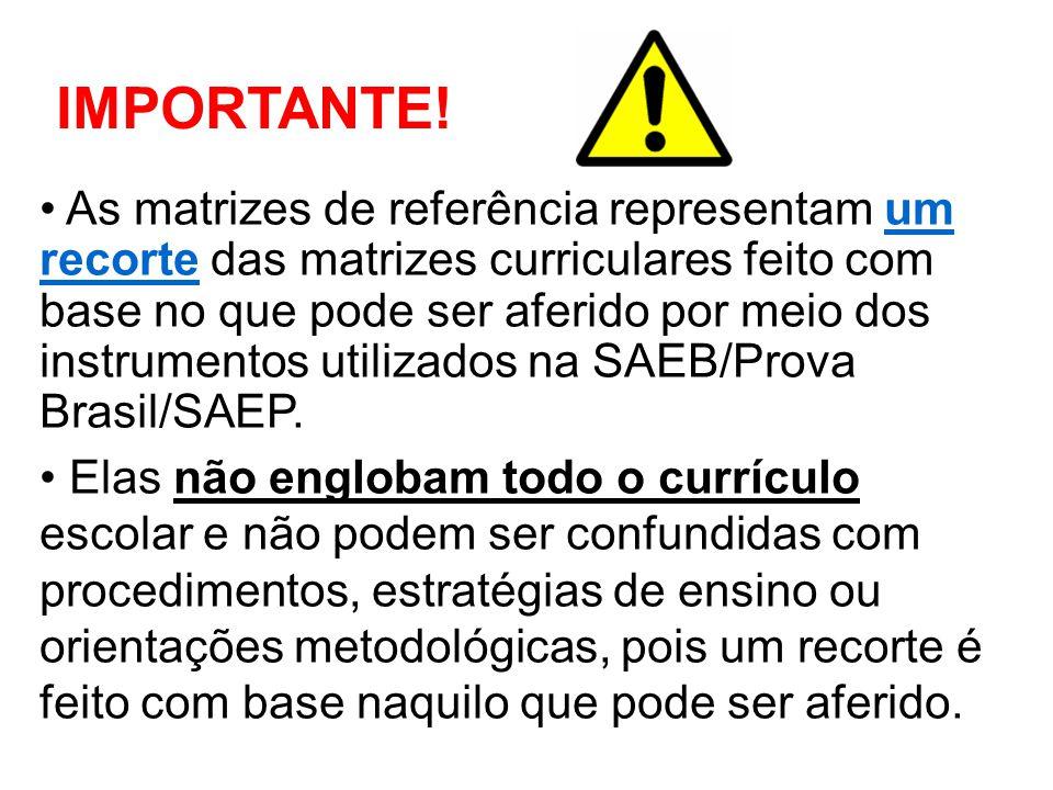 As matrizes de referência representam um recorte das matrizes curriculares feito com base no que pode ser aferido por meio dos instrumentos utilizados na SAEB/Prova Brasil/SAEP.
