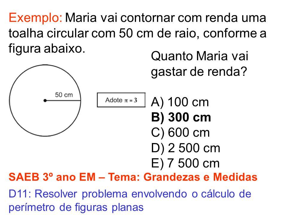SAEB 3º ano EM – Tema: Grandezas e Medidas D11: Resolver problema envolvendo o cálculo de perímetro de figuras planas Exemplo: Maria vai contornar com renda uma toalha circular com 50 cm de raio, conforme a figura abaixo.