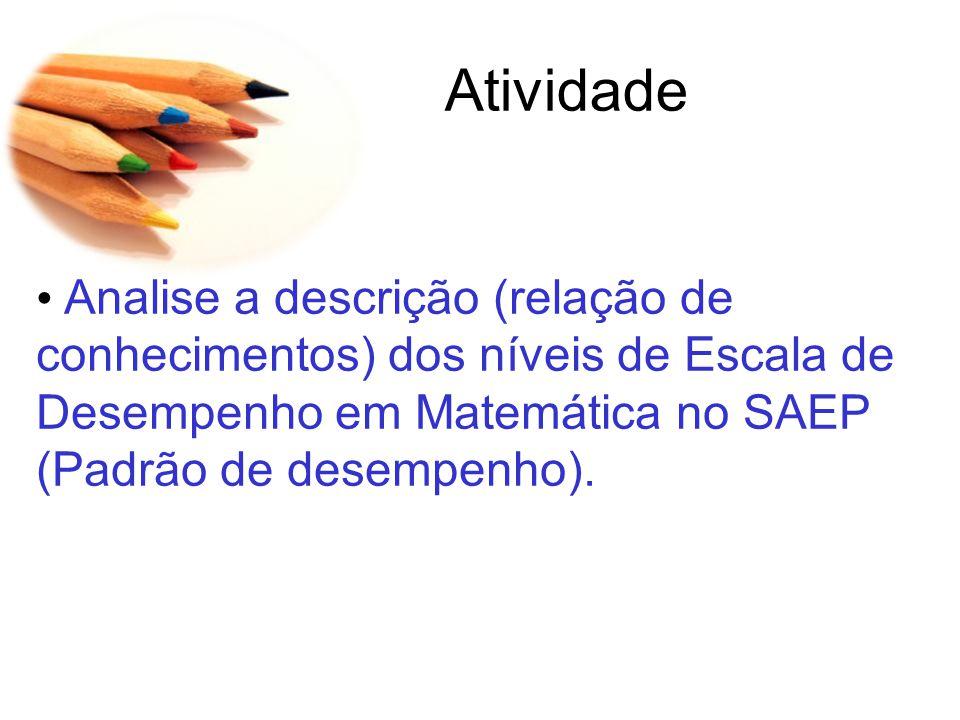 Atividade Analise a descrição (relação de conhecimentos) dos níveis de Escala de Desempenho em Matemática no SAEP (Padrão de desempenho).
