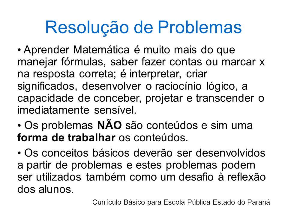 Resolução de Problemas Aprender Matemática é muito mais do que manejar fórmulas, saber fazer contas ou marcar x na resposta correta; é interpretar, criar significados, desenvolver o raciocínio lógico, a capacidade de conceber, projetar e transcender o imediatamente sensível.