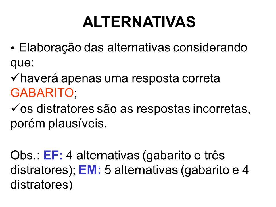 Elaboração das alternativas considerando que: haverá apenas uma resposta correta GABARITO; os distratores são as respostas incorretas, porém plausíveis.