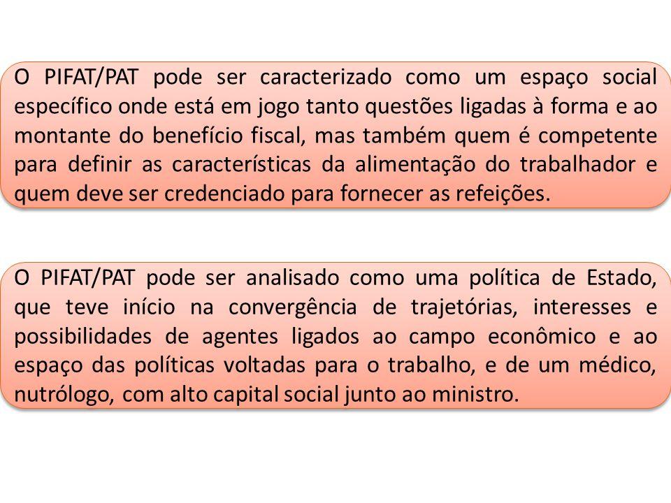 O PIFAT/PAT pode ser caracterizado como um espaço social específico onde está em jogo tanto questões ligadas à forma e ao montante do benefício fiscal