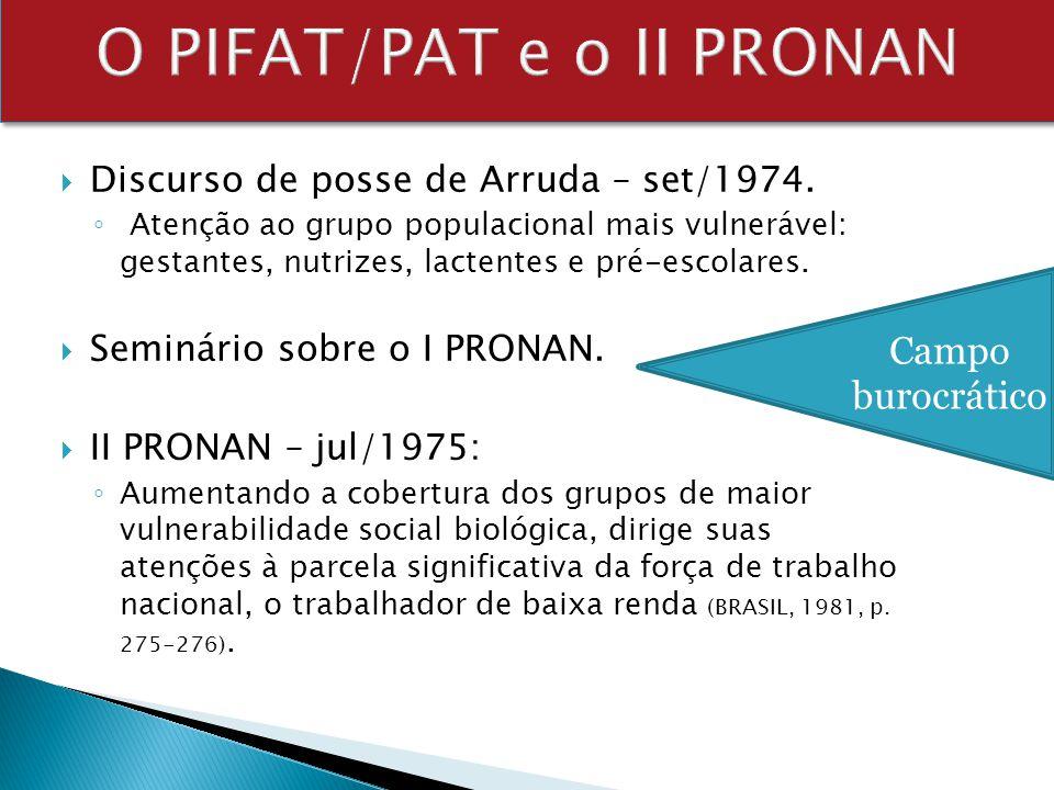 Discurso de posse de Arruda – set/1974. Atenção ao grupo populacional mais vulnerável: gestantes, nutrizes, lactentes e pré-escolares. Seminário sobre