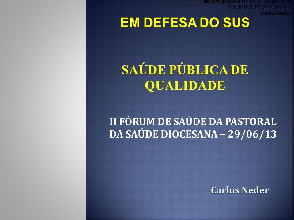 II FÓRUM DE SAÚDE DA PASTORAL DA SAÚDE DIOCESANA – 29/06/13 CarlosNeder Carlos Neder EM DEFESA DO SUS SAÚDE PÚBLICA DE QUALIDADE MODALIDADES DE GESTÃO