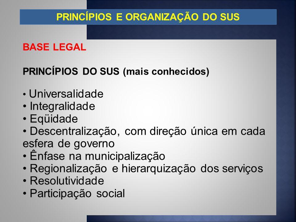 PRINCÍPIOS E ORGANIZAÇÃO DO SUS BASE LEGAL PRINCÍPIOS DO SUS (mais conhecidos) Universalidade Integralidade Eqüidade Descentralização, com direção úni