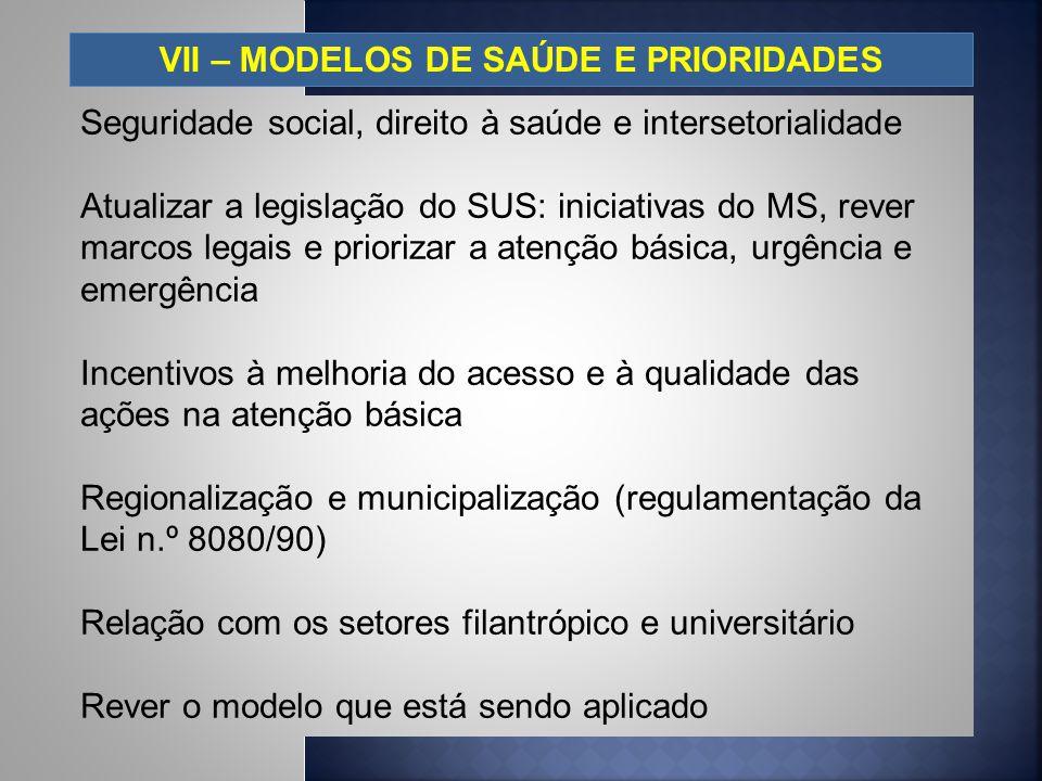 VII – MODELOS DE SAÚDE E PRIORIDADES Seguridade social, direito à saúde e intersetorialidade Atualizar a legislação do SUS: iniciativas do MS, rever m