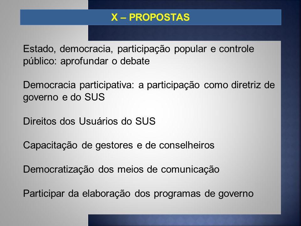X – PROPOSTAS Estado, democracia, participação popular e controle público: aprofundar o debate Democracia participativa: a participação como diretriz