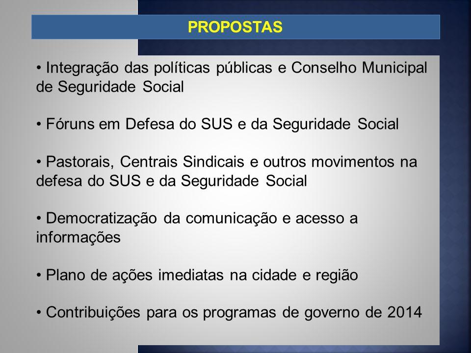 PROPOSTAS Integração das políticas públicas e Conselho Municipal de Seguridade Social Fóruns em Defesa do SUS e da Seguridade Social Pastorais, Centra