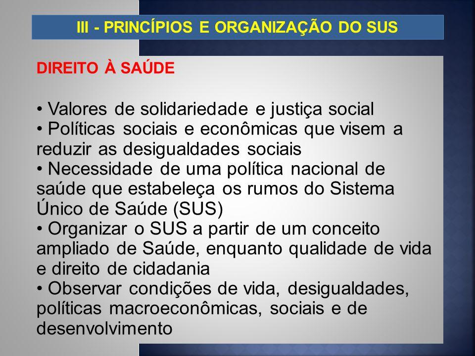 III - PRINCÍPIOS E ORGANIZAÇÃO DO SUS DIREITO À SAÚDE Valores de solidariedade e justiça social Políticas sociais e econômicas que visem a reduzir as