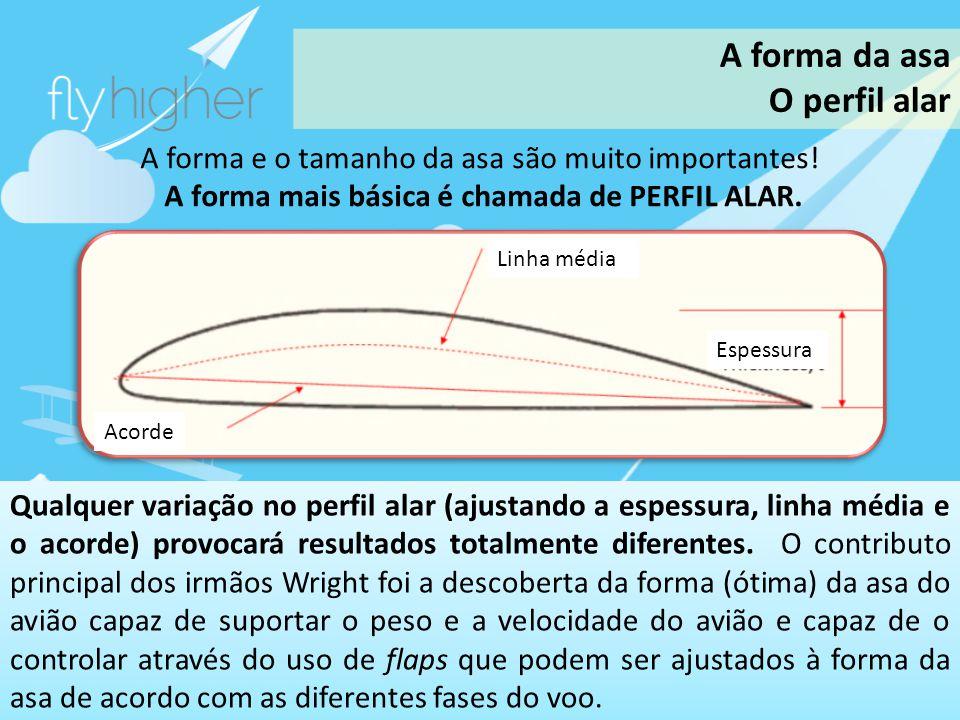 www.flyhigher.eu A forma e o tamanho da asa são muito importantes! A forma mais básica é chamada de PERFIL ALAR. Qualquer variação no perfil alar (aju