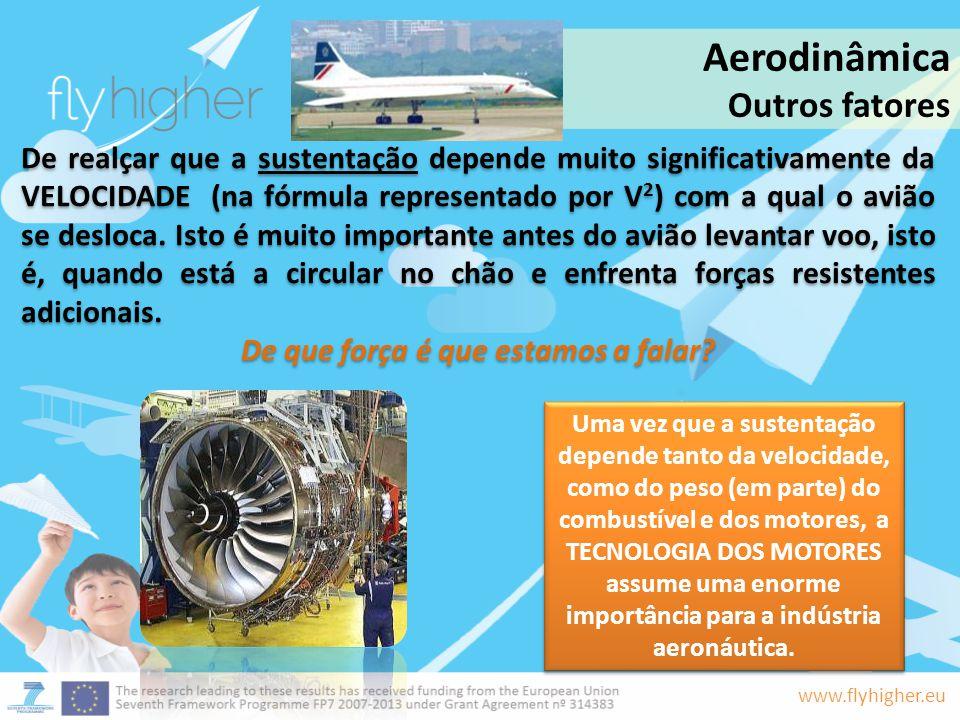 www.flyhigher.eu De realçar que a sustentação depende muito significativamente da VELOCIDADE (na fórmula representado por V 2 ) com a qual o avião se