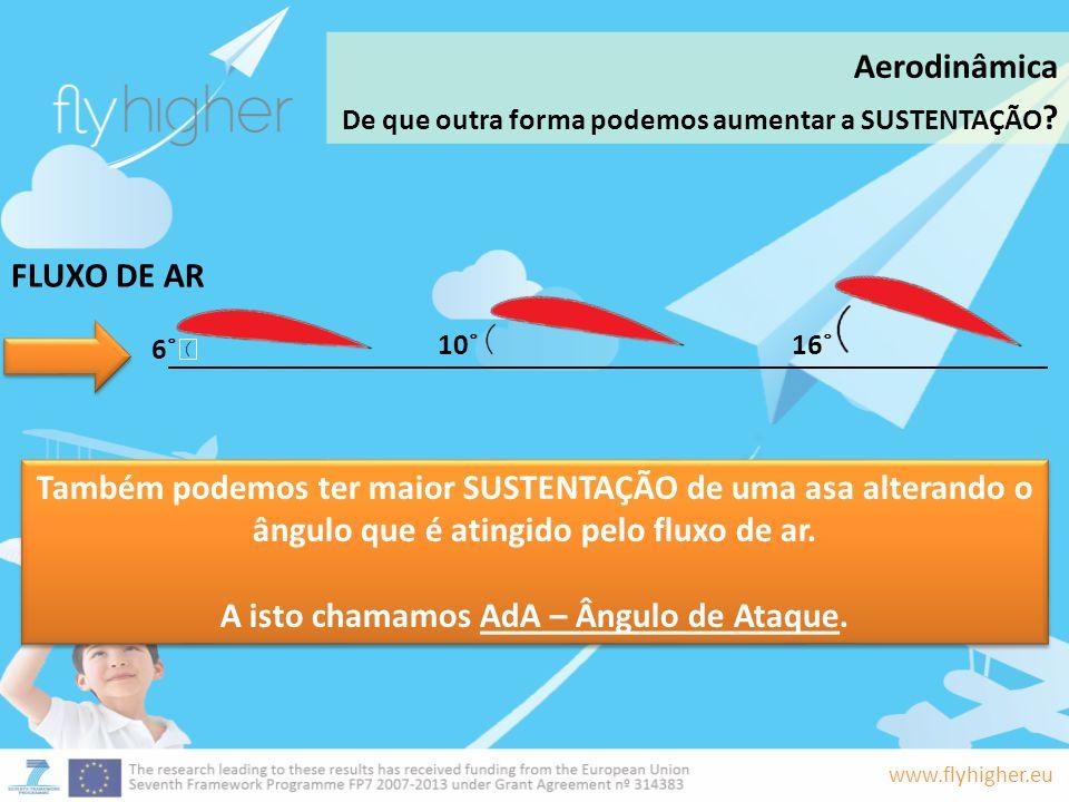 www.flyhigher.eu Também podemos ter maior SUSTENTAÇÃO de uma asa alterando o ângulo que é atingido pelo fluxo de ar. A isto chamamos AdA – Ângulo de A