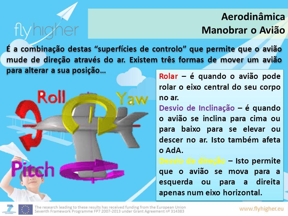 www.flyhigher.eu É a combinação destas superfícies de controlo que permite que o avião mude de direção através do ar. Existem três formas de mover um