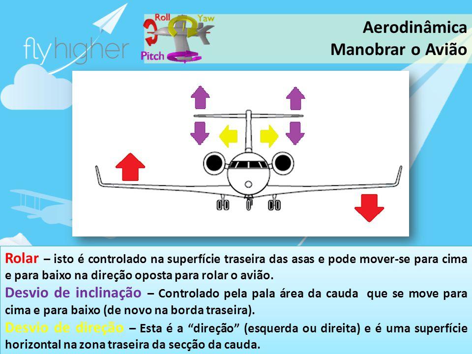 www.flyhigher.eu Rolar – isto é controlado na superfície traseira das asas e pode mover-se para cima e para baixo na direção oposta para rolar o avião