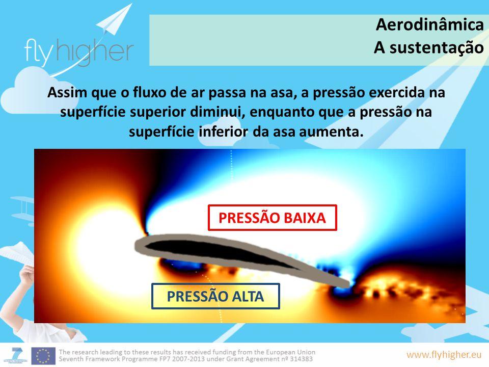 www.flyhigher.eu Assim que o fluxo de ar passa na asa, a pressão exercida na superfície superior diminui, enquanto que a pressão na superfície inferio