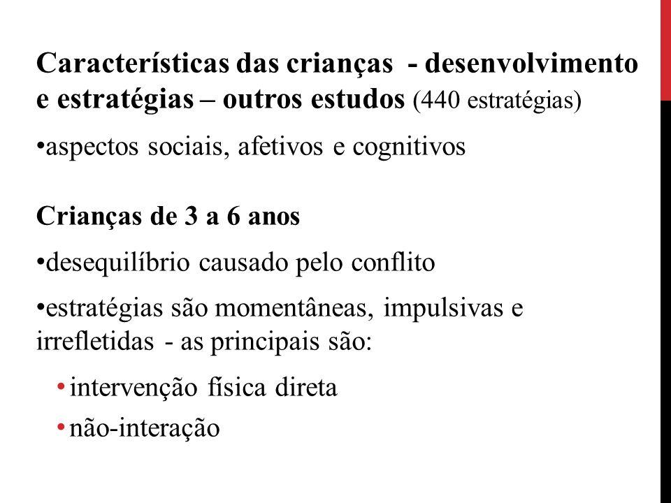 Características das crianças - desenvolvimento e estratégias – outros estudos (440 estratégias) aspectos sociais, afetivos e cognitivos Crianças de 3